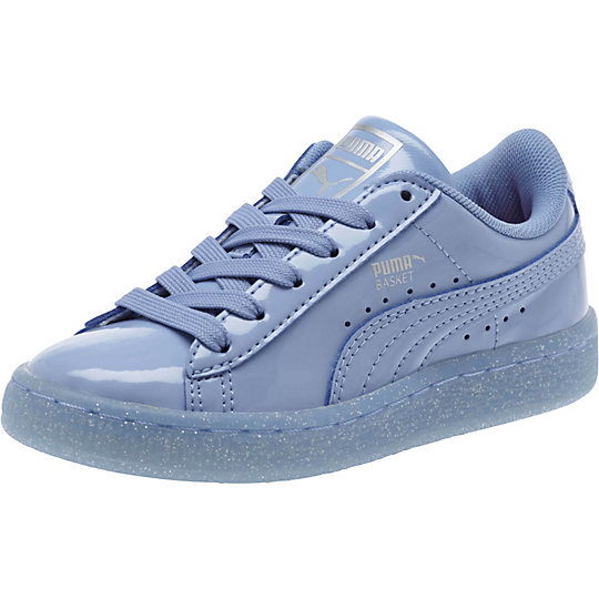 Puma Basket Patent Iced Glitter Preschool Sneakers